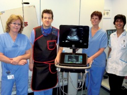 From left to right, Sister Lesley Armley, Consultant Interventional Radiologist...