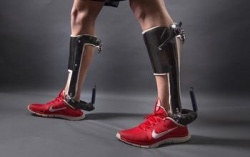 This image shows a passive-elastic ankle exoskeleton. An unpowered clutch...