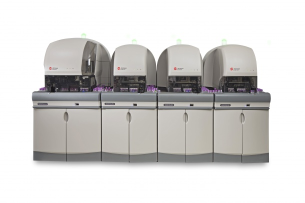 The UniCel DxH 2401 analyses up to 300 samples and 140 slides per hour.