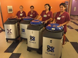 CHLA Environmental Services staff combine the UV light of the Xenex robots with...