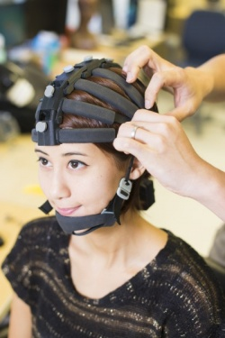 The headset developed by Cognionics features 64 channels for EEG monitoring.