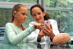 The minisensor system in future use: The sensor is placed in the ear, and a...