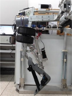 A prototype of the lower-limb exoskeleton being developed at Beihang University...
