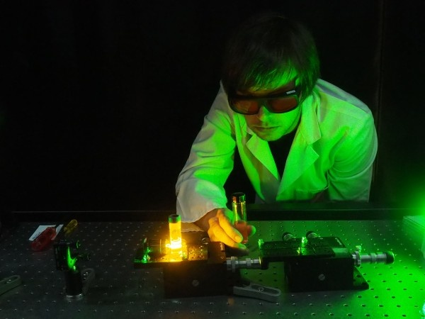 Dr Erik Schartner demonstrating an experimental system for the cancer optical...