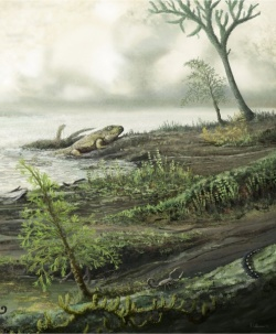 Early life as it is believed to have looked 335 million years ago, well before...