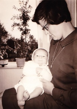 Ben Mol as a baby (just a few weeks old) with his mother, Annemie Mol-Albers,...