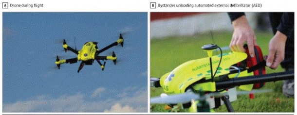 Automated External Defibrillator (AED)-equipped drone.