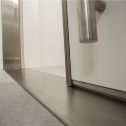 Electrically operated, the HF sliding door lifts and glides gently to one side...