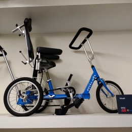 blue rehabilitation bicycle