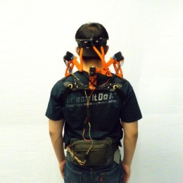 A study participant wearing the neck brace.