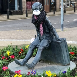 Even statues are doing their part: Wee Annie in Gourock, Scotland, is...