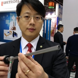 MedicalTek Chairman Kai-Che (Jack) Liu shows how the companys product, a 3D...