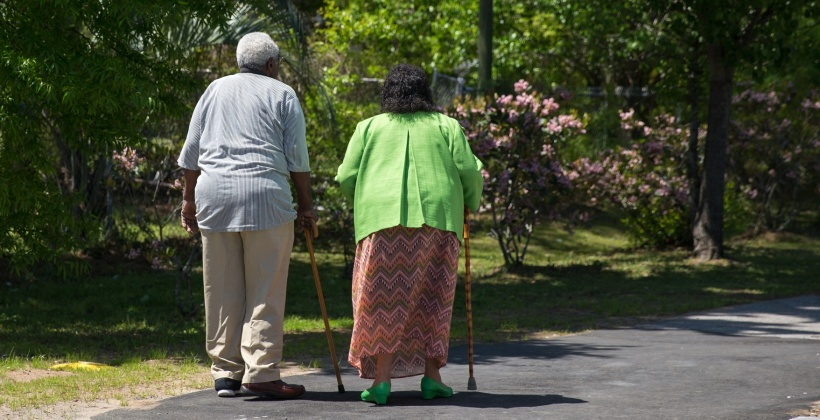 elderly people taking a walk