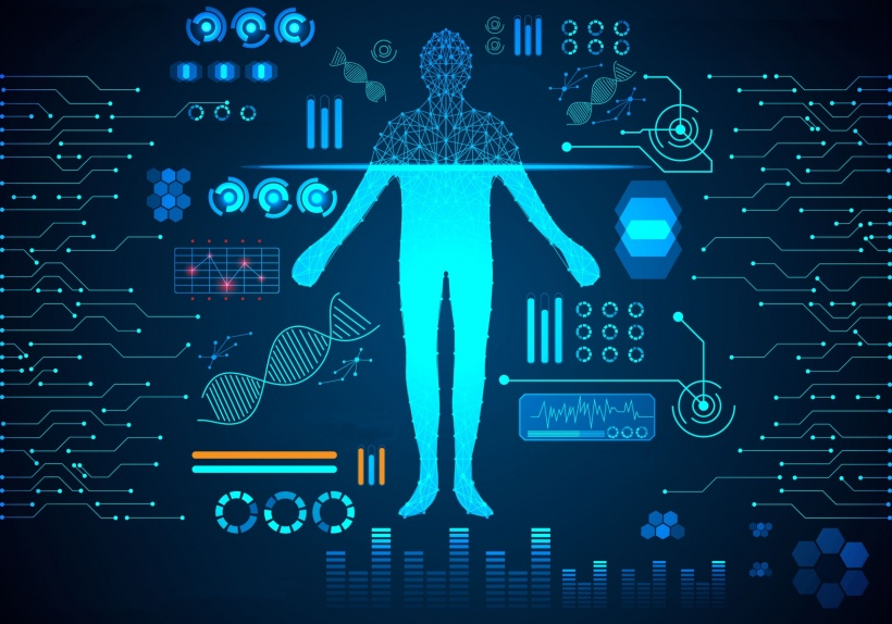 abstract technology concept human body digital health care ; hud interface of...