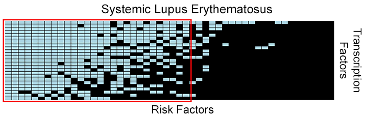 This figure depicts the intersections (colored rectangles) of known gene risk...