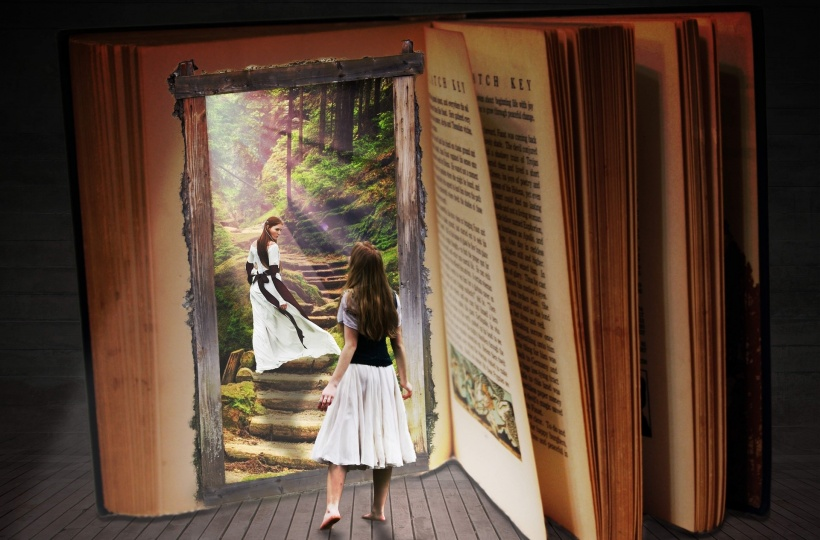 dreaming girl walks into an open book