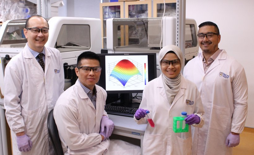 research team standing around screen in a laboratory environment