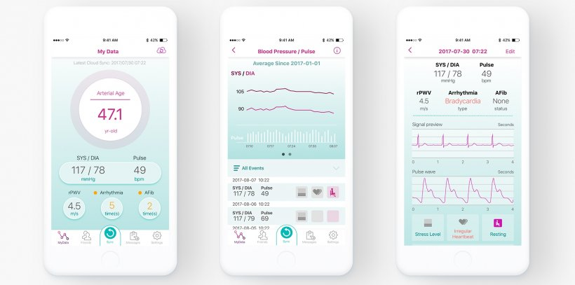 3 smartphones displaying medical apps