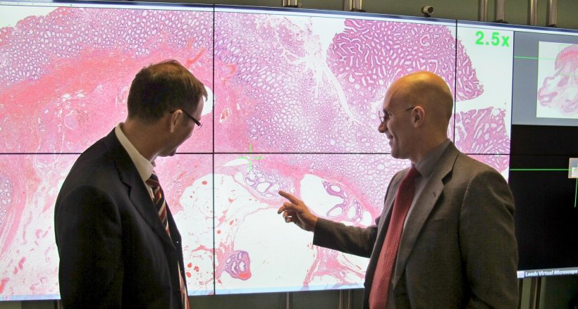 Dr Darren Treanor from Leeds and Jerome Clavel (Leica Biosystems) at Leeds...