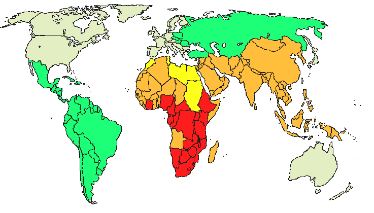 world map of tuberculosis incidence