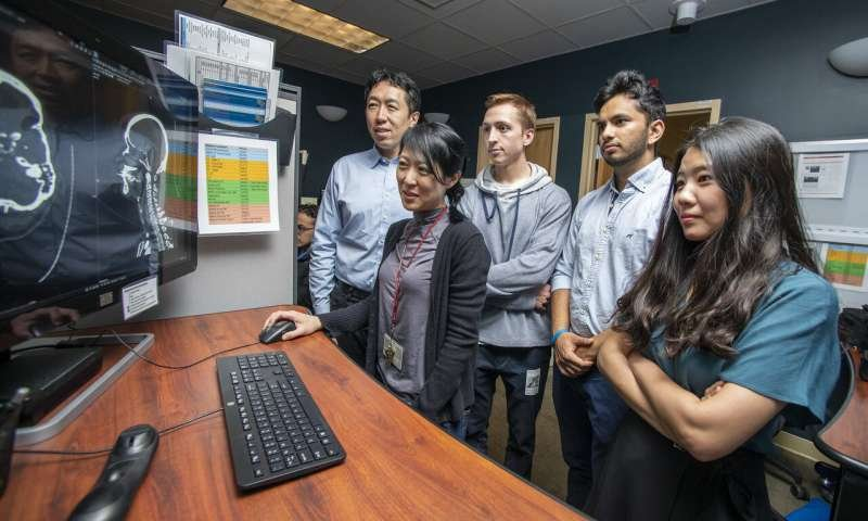 HeadXNet team members (from left to right, Andrew Ng, Kristen Yeom, Christopher...