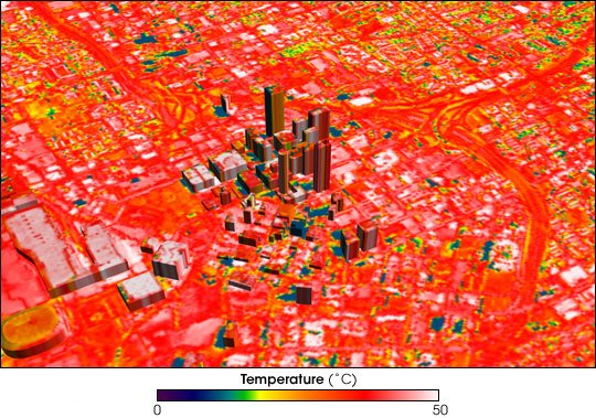 thermal image of city buildings