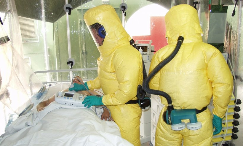 ebola isolation station, infection protective gear