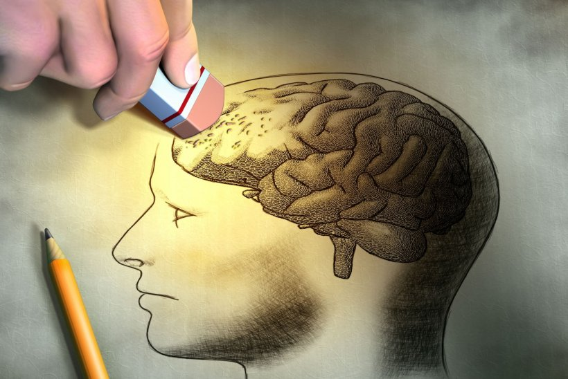 illustration of eraser erasing pencil drawing of human brain