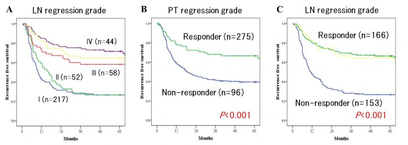 Fig. 2: Kaplan-Meier recurrence-free survival (RFS) according to (A) LN...