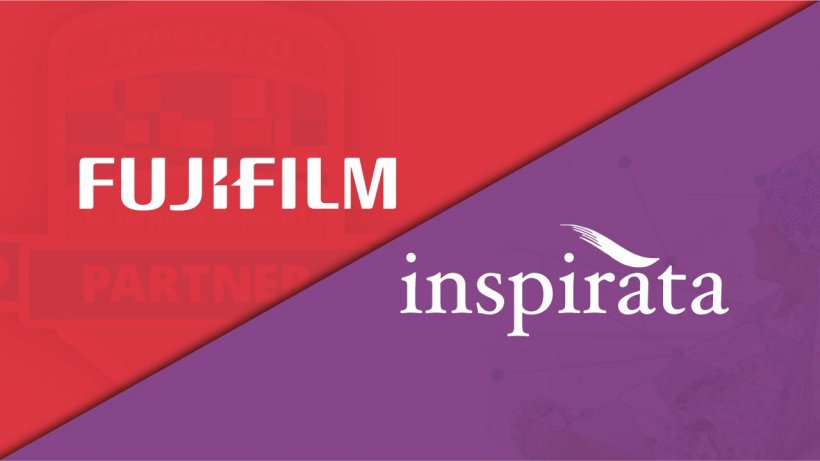 fujifilm and inspirata company logos on red and purple background