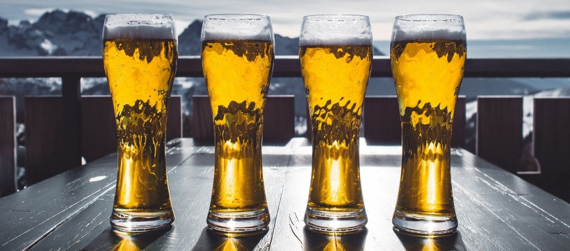 stock photo of four beer glasses