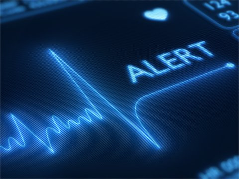 Flat line alert on a heart monitor