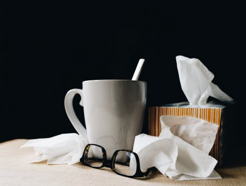 accessories for persons having the flu or cold: cup of hot tea, kleenex box