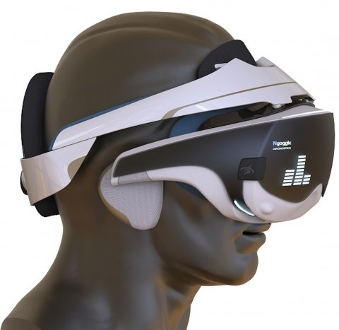 virtual reality goggles on plastic head