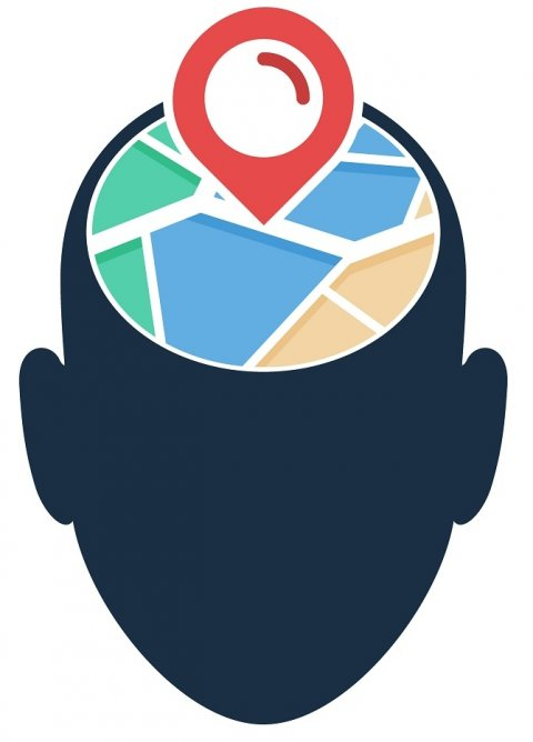 concept of human head with a google maps-like icon on top
