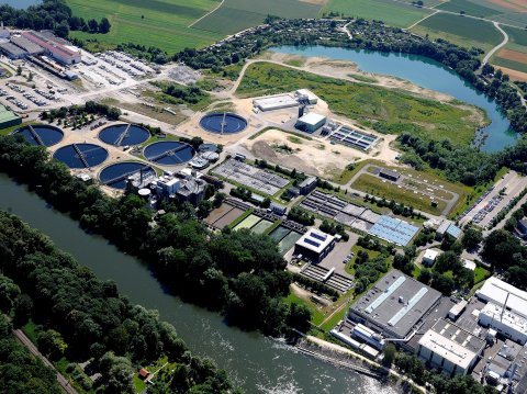 aerial view on wastewater processing plant