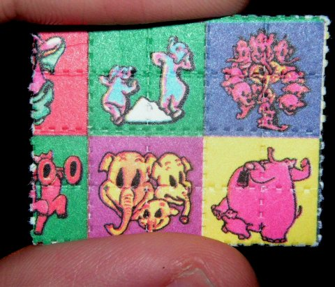 LSD with elephant illustration on blotter paper