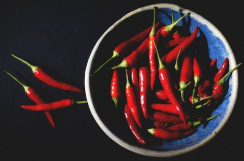 bowl of red chilis