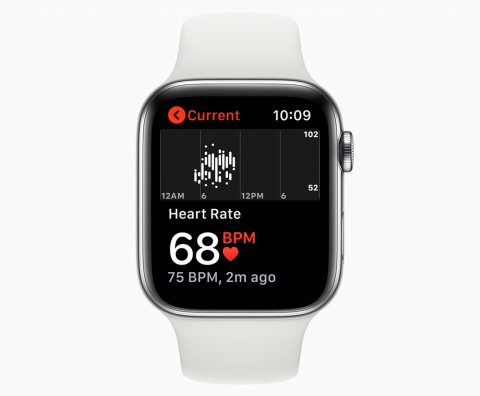 apple smartwatch displaying cardiology app