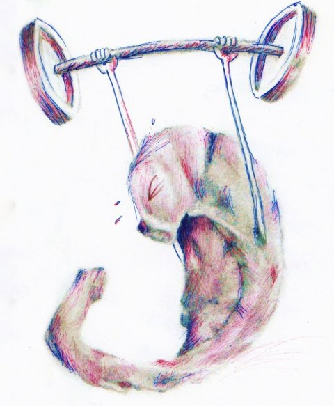 illustration of human hippocampus lifting weights