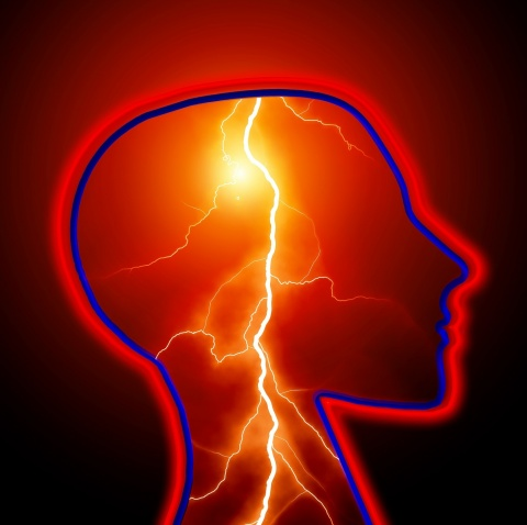 illustration of lightning inside the head to show the concept of an epileptic event