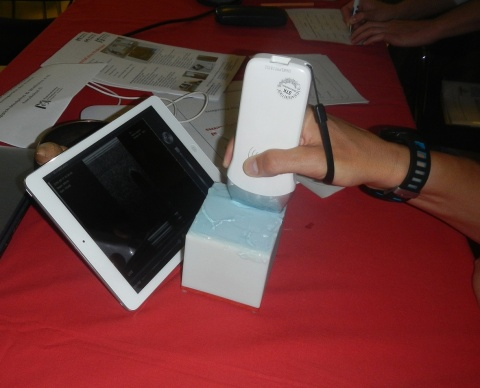 Wireless transducer (LA) being used in a training session on the recognition of artefacts (phantom).