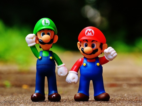 Super Mario and Luigi figurines