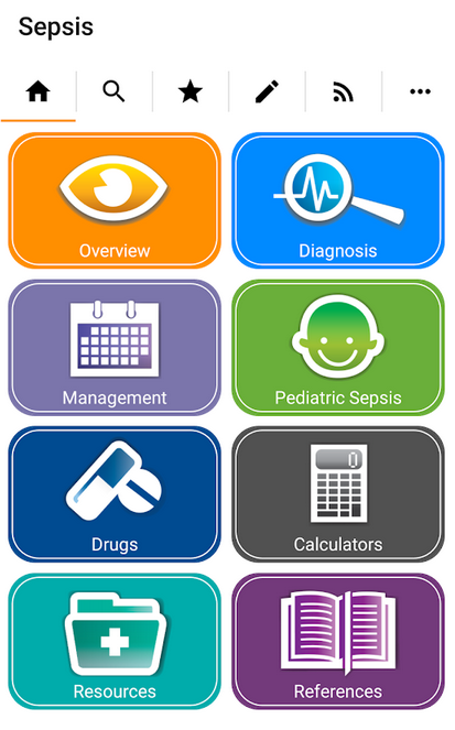 Sepsis App Home Screenshot