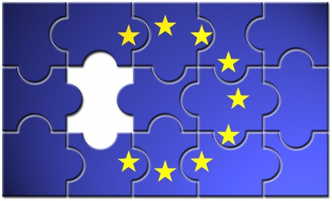european union flag as puzzle with missing piece