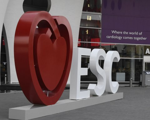 ESC heart logo in front of congress center in barcelona