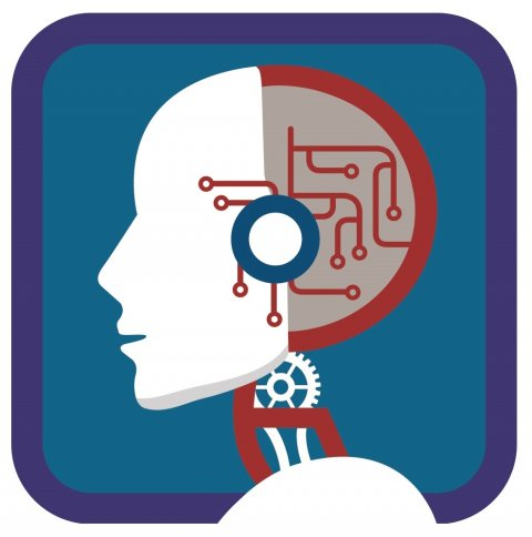 logo depicting a stylized human head with circuitry as symbol for AI