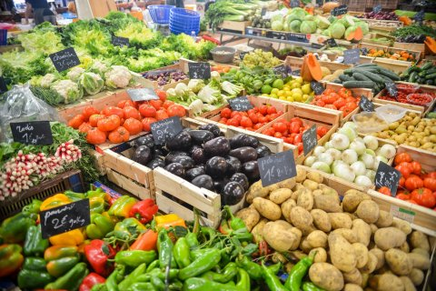 healthy food, fruit and vegetables, on market display